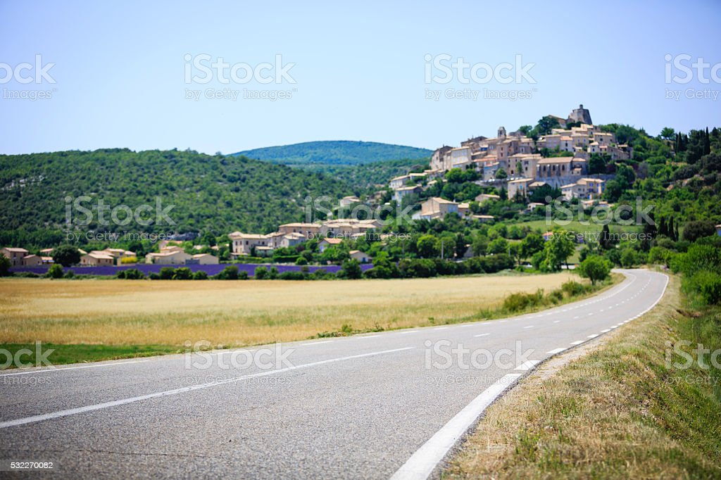 road to a small town in Provence stock photo