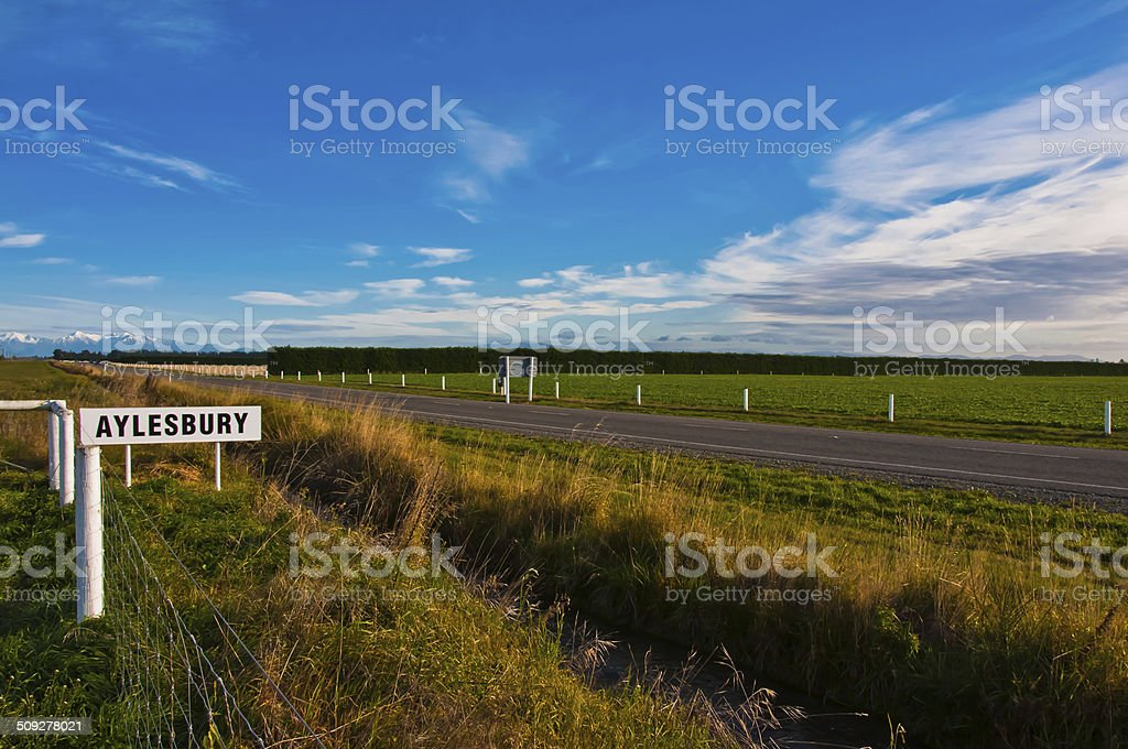Road to Aylesbury, Southern Alps, New Zealand stock photo
