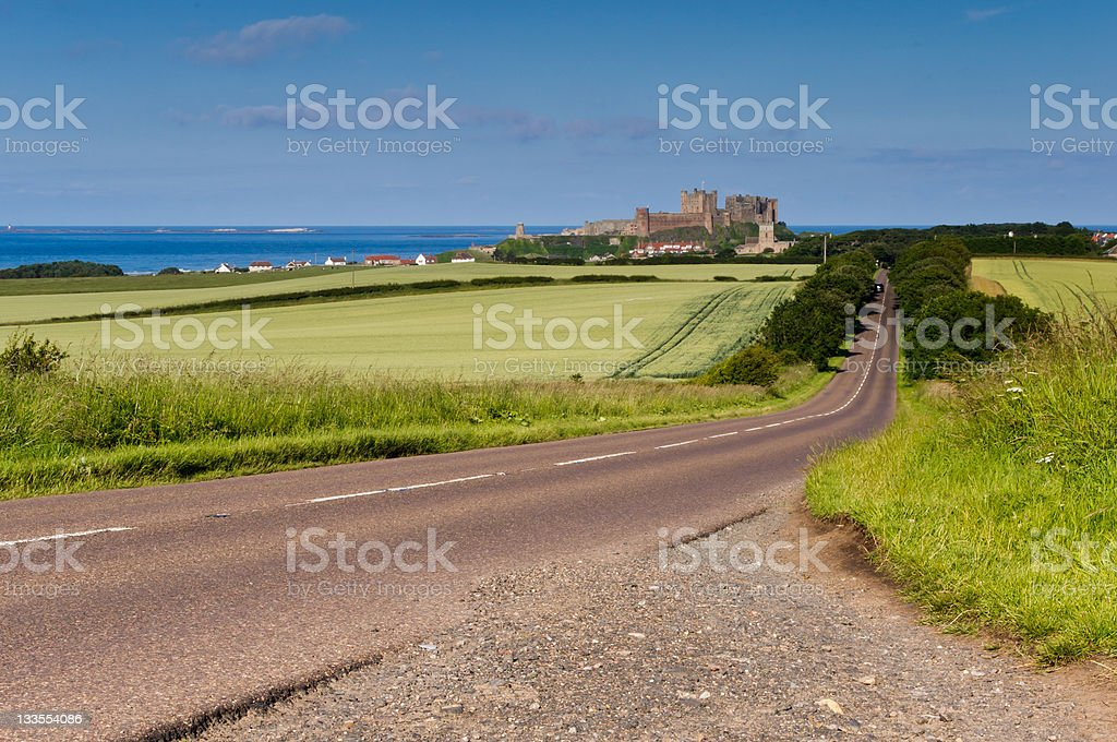 Road to Bamburgh Castle stock photo