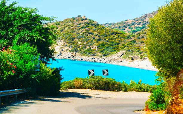 Road to Beach at Villasimius South Sardinia stock photo
