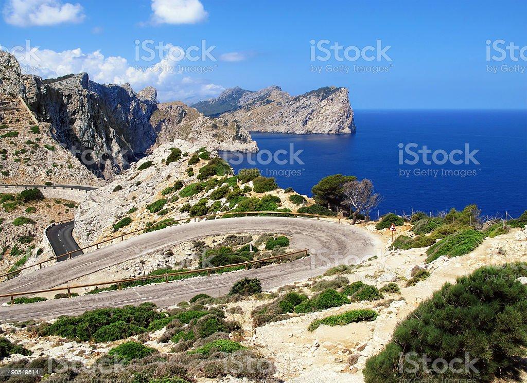 road to Cap Fomentor (Mallorca) and landscape surrounding stock photo