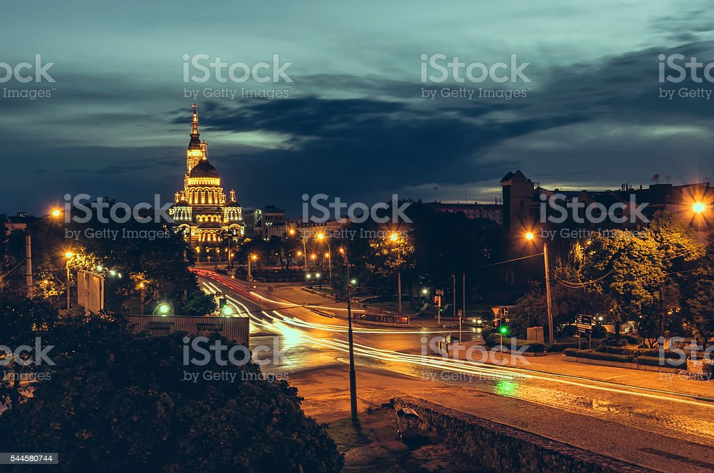 Road to Cathedral Blagoveschensky Kharkov in night stock photo