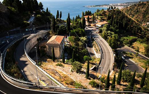 Road to city of Taormina, Sicily island, Italy
