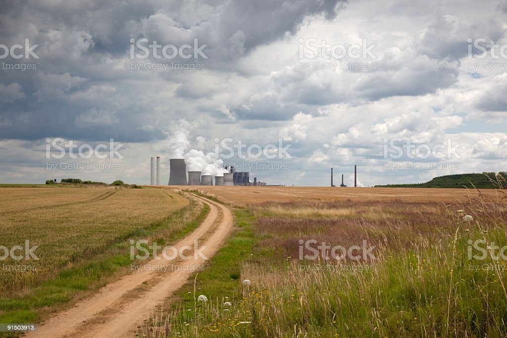 Road to Coal Power Plant royalty-free stock photo