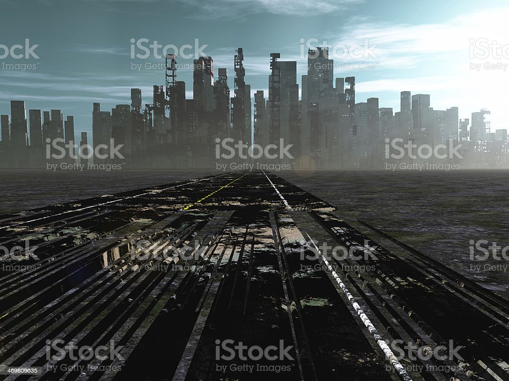 Road to dead city stock photo