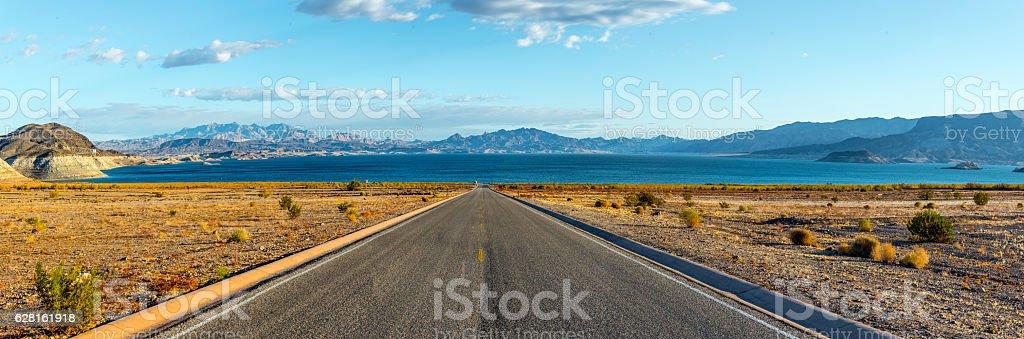 Road to Desert Lake Panorama stock photo