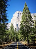 View of El Capitan from empty road in Yosemite National Park. California. USA
