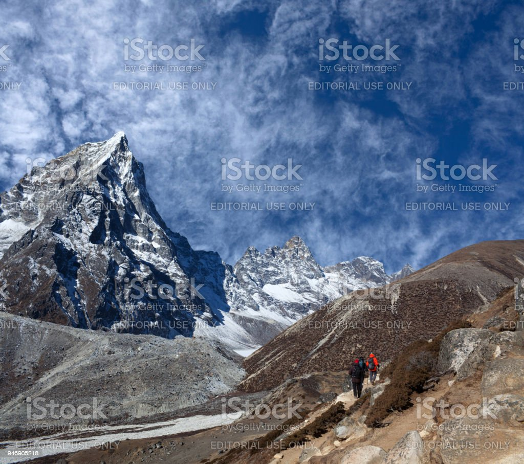 Road to Everest Base camp in Sagarmatha National Park, Nepal stock photo