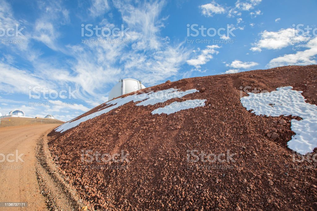 Road to Gemini Observatory on Mauna Kea Mountain stock photo