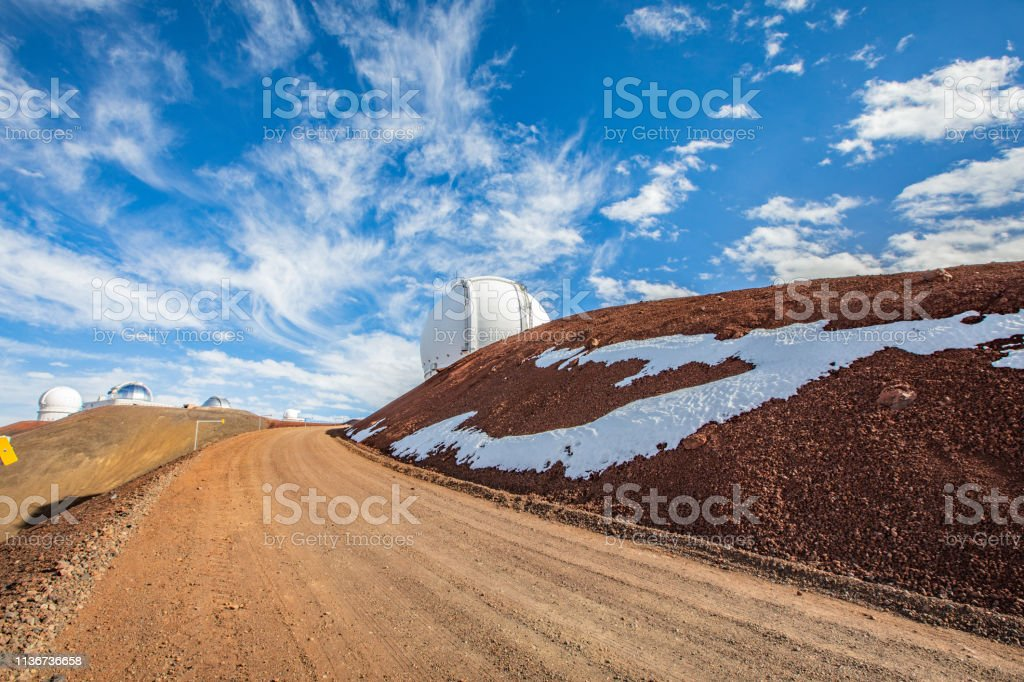 Road to Gimini Observatory on Mauna Kea Mountain stock photo
