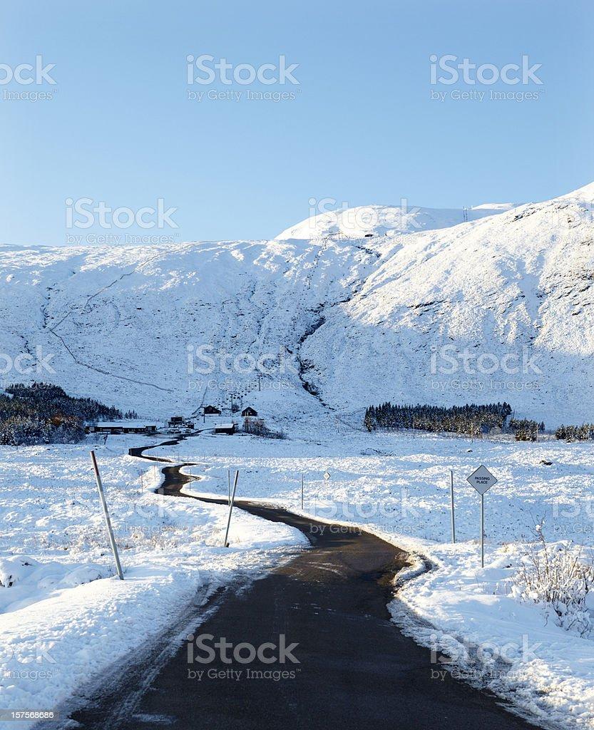 Road to Glencoe Ski Resort, Ranoch Moor, Scotland stock photo