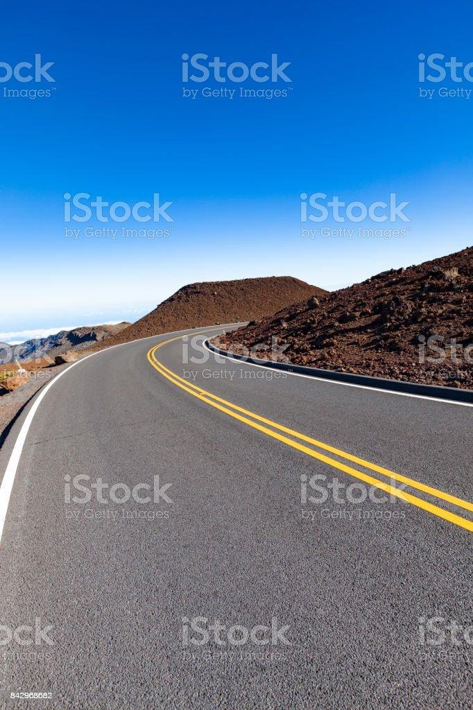 road to haleakala volcano peak, maui island, hawaii islands stock photo