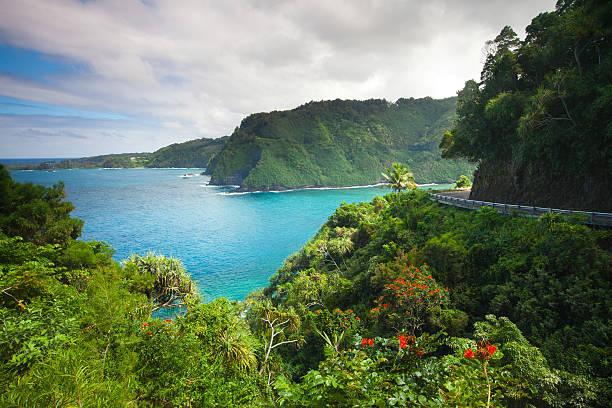 road to hana maui .hawaii - zweispurige strecke stock-fotos und bilder