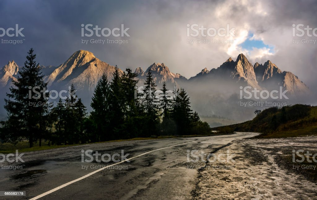 road to High Tatra Mountain Ridge in stormy weather stock photo
