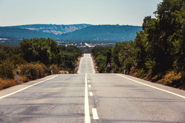 Road to hills in Spain stock photo