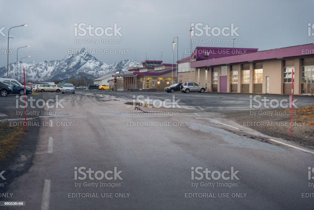 Road to Leknes airport in Lofoten Islands, Norway stock photo