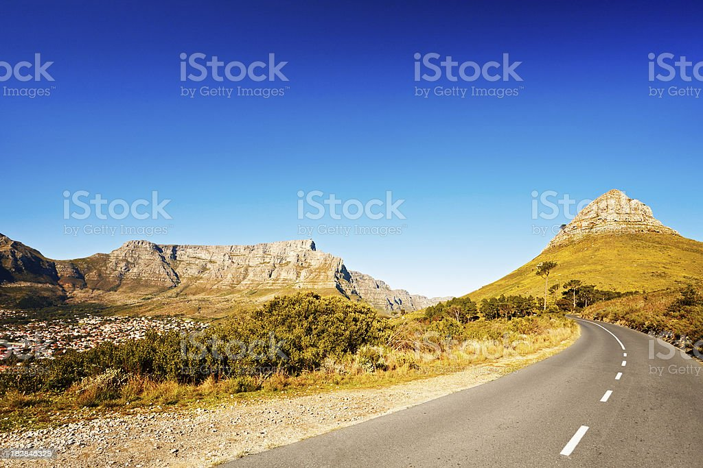 Road to Lions Head, part of Table Mountain, Cape Town stock photo