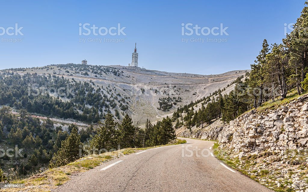 Road to Mont Ventoux stock photo