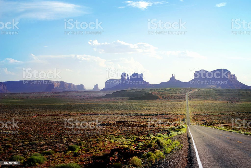 Road to Monument Valley at sunset. royalty-free stock photo