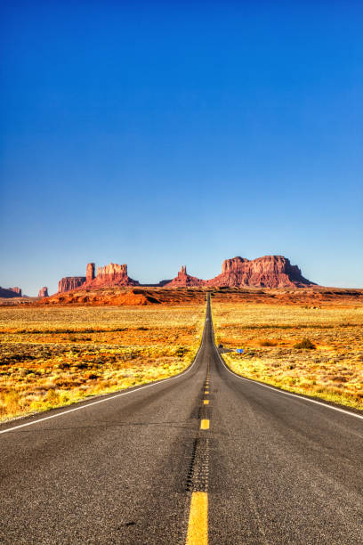 Road to Monument Valley during a Sunny Day, Border of Utah and Arizona stock photo