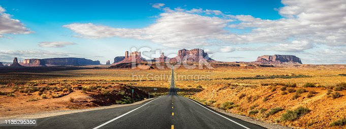 Road to Monument Valley  U.S. Highway 163 at Forrest Gump Point in the morning. Utah