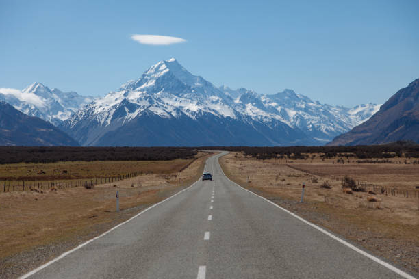 Road to Mount Cook, Aoraki National Park, New Zealand stock photo