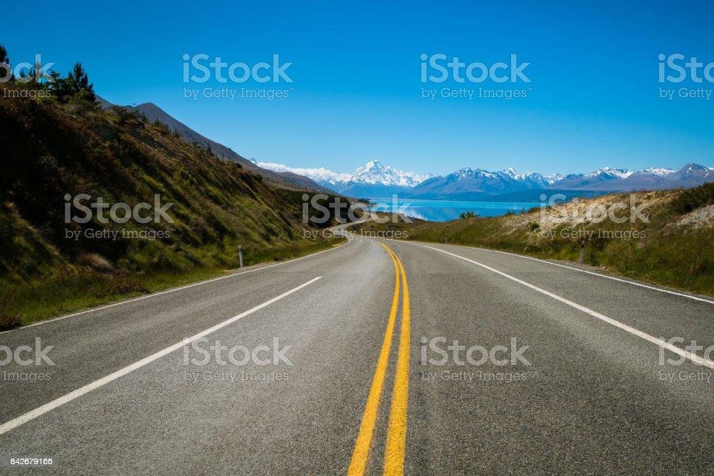 Straße zum Mount Cook, Neuseeland – Foto