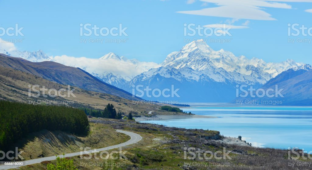 Road to mount Cook, Southern Alps, New Zealand stock photo