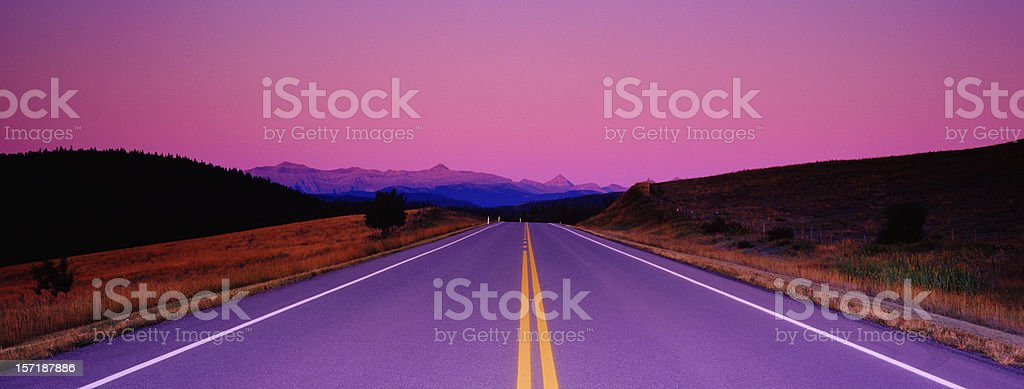 Road to Mountains at Sunrise royalty-free stock photo