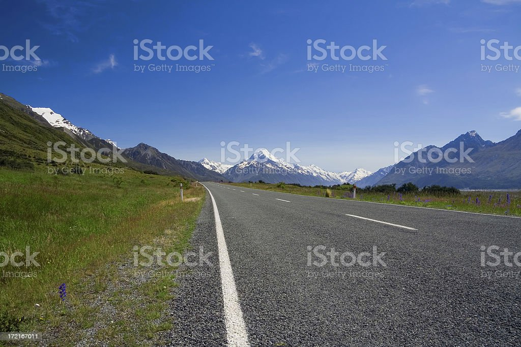 Road to Mt. Cook royalty-free stock photo