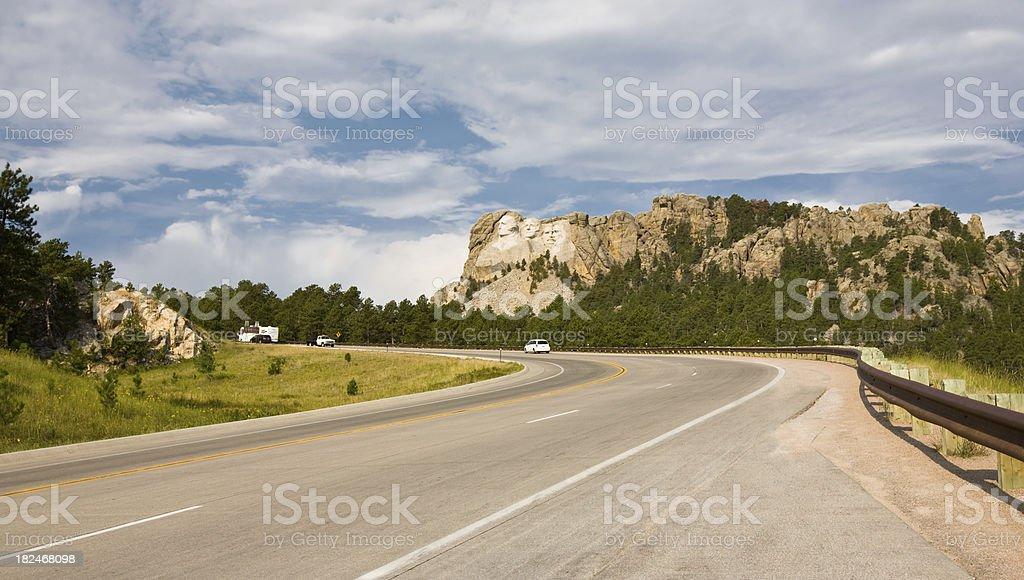 Road to Mt. Rushmore in South Dakota stock photo
