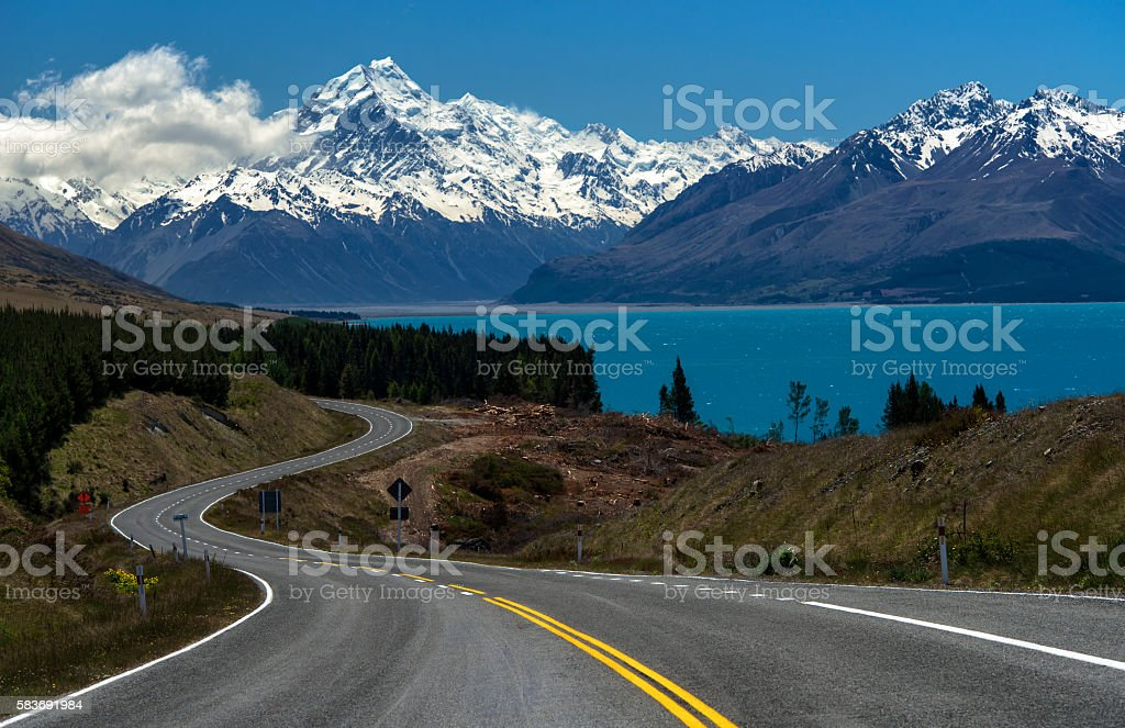 Road to Mt.Cook,New Zealand stock photo