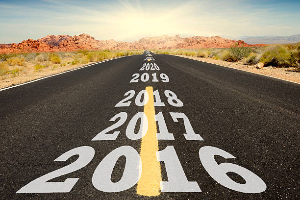Road to New Year 2016 stock photo