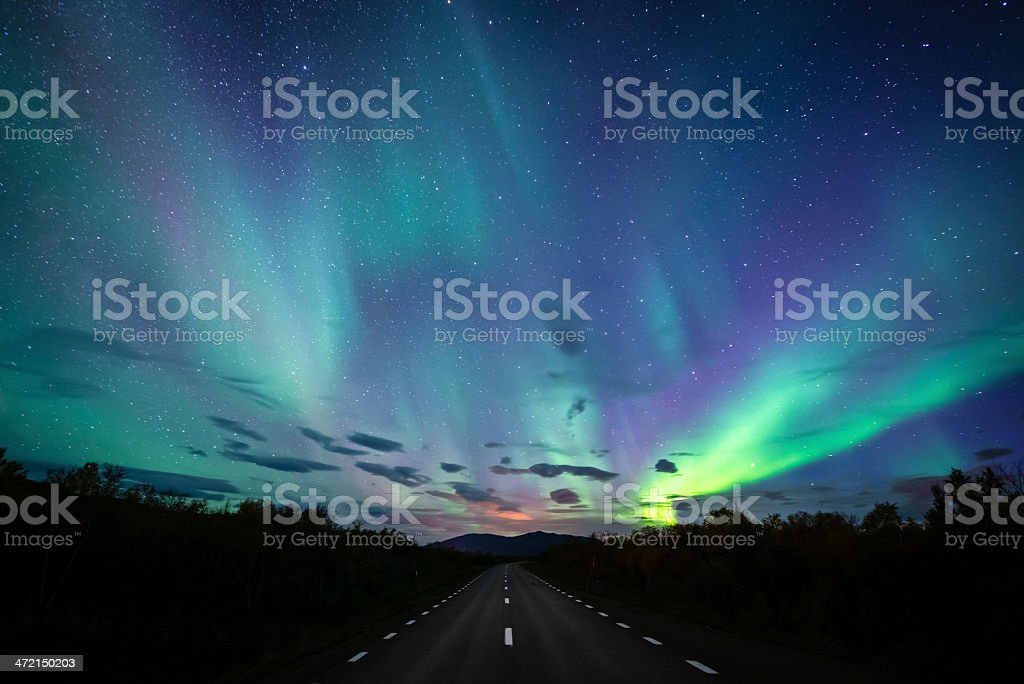 Road to Northern Lights stock photo