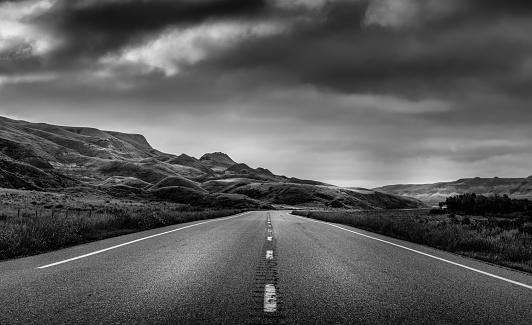 Highway through the Badlands of Alberta Canada.