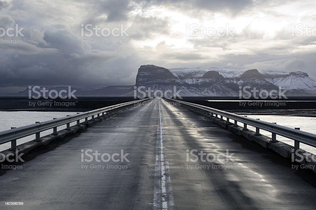Road to Nowhere, vanishing point, Iceland royalty-free stock photo