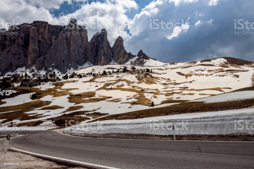 Road to Pass Sella, Dolomites, Italy, European Alps