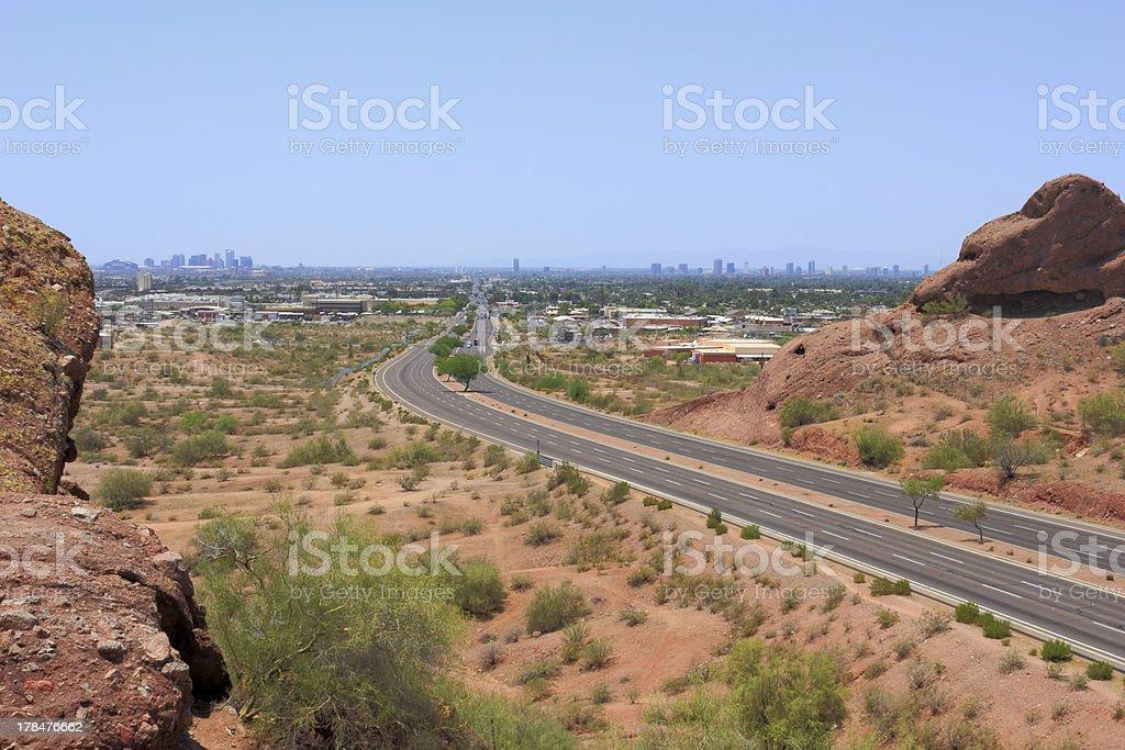 Road to Phoenix Downtown, AZ royalty-free stock photo