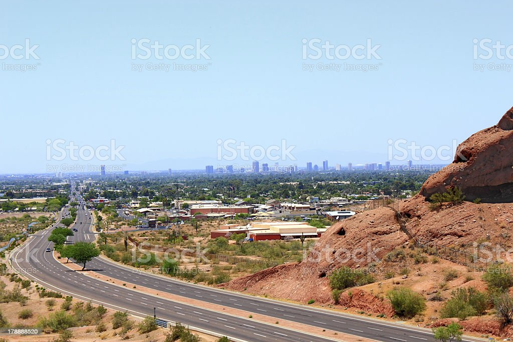 Road to Phoenix Downtown, AZ royalty-free stock photo