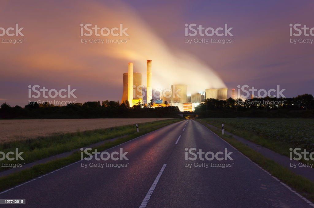 Road To Power Station At Night stock photo