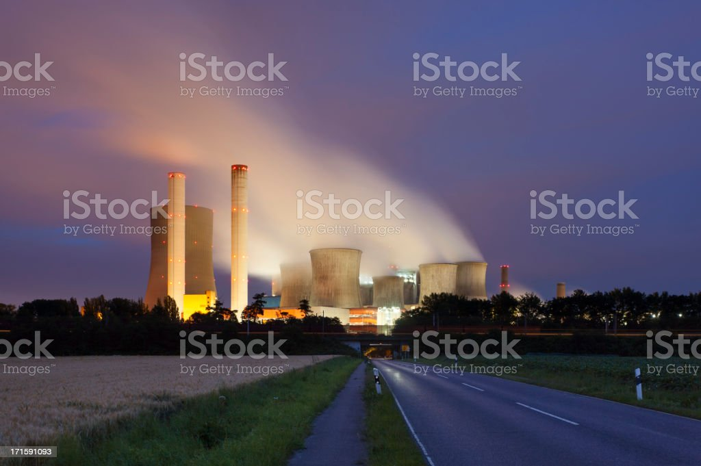 Road To Power Station At Night royalty-free stock photo