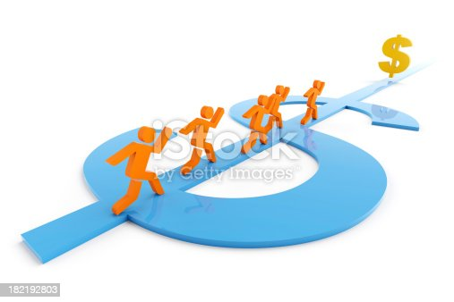 3d render of figurine running along a dollar shape path towards a dollar signClick