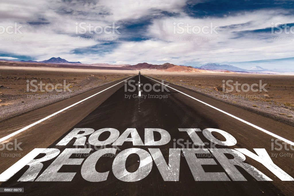 Road to Recovery sign stock photo