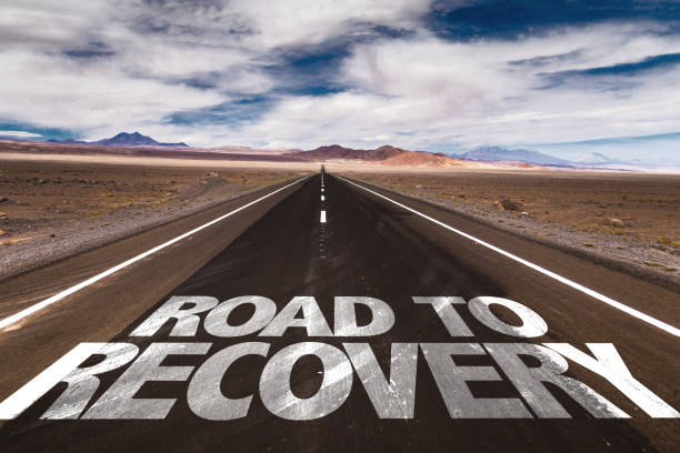 Road to Recovery sign Road to Recovery written on desert road recovery stock pictures, royalty-free photos & images