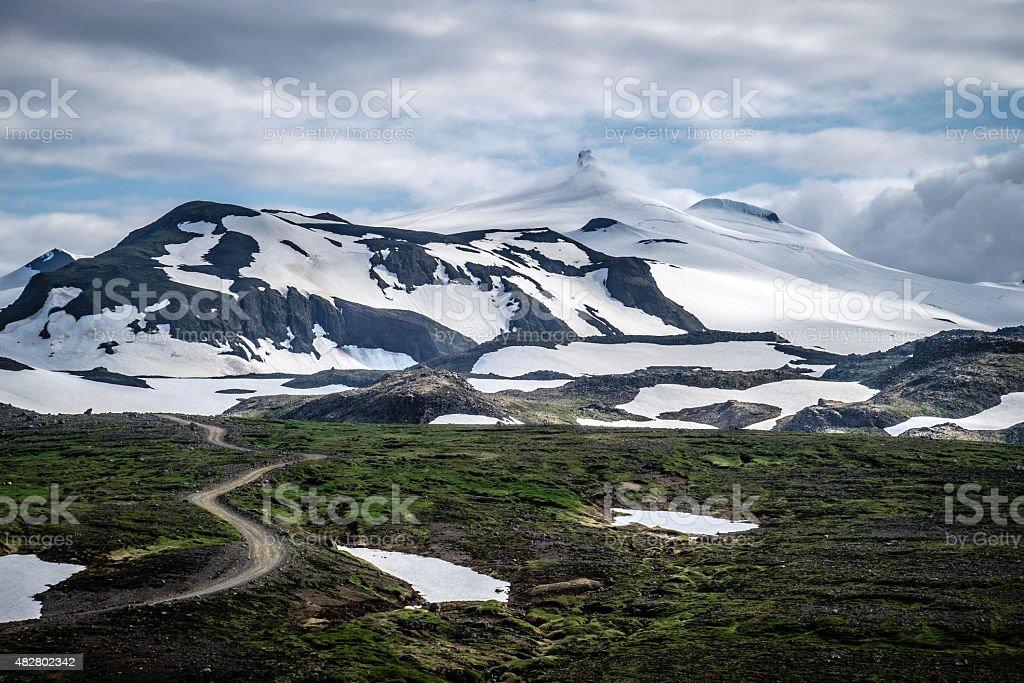 Road to Snaefellsjökull Glacier, Snaefellsnes, Iceland stock photo