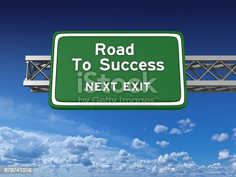 istock Road To Success Highway Sign 879741016