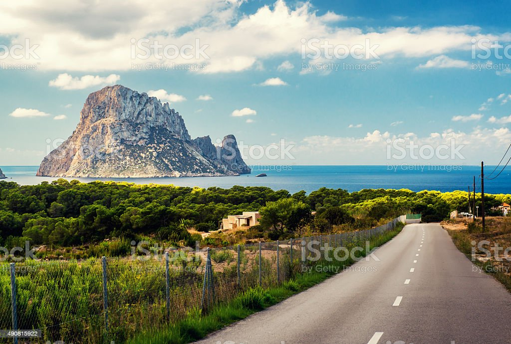 Road to the Cala d'Hort beach stock photo