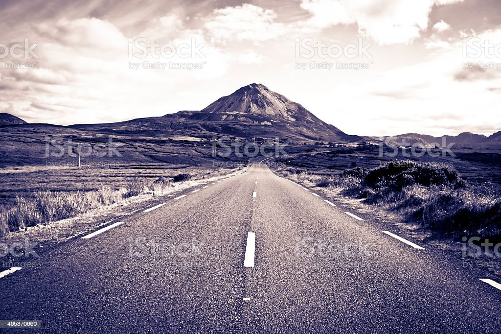 road to the Errigal mountains toned stock photo