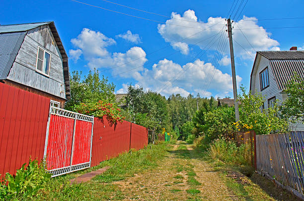 road to the forest road to the forest. countryside. summer time in the poor village russian dacha stock pictures, royalty-free photos & images