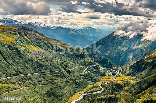 istock Road to the Furka Pass in Switzerland 1314431391